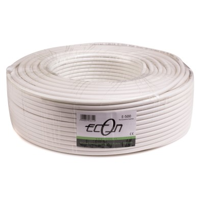 "Econ Coaxial Cable Dual Schilded RG-6 100m ""White"" E-500"